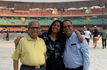 Indian expat daughter with her father back in Mumbai